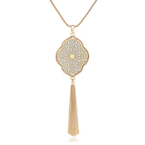 MOLOCH Long Necklaces for Woman Disk Circle Pendant Necklaces Tassel Fringe Necklace Set Statement Pendant (Quatrefoil-Shaped-Gold)