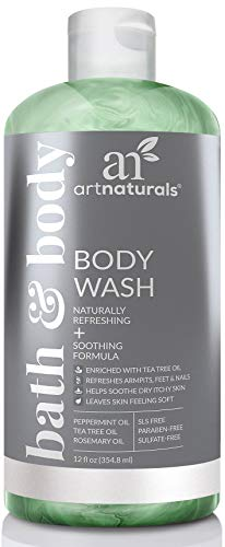 (ArtNaturals Essential Bath and Body Wash - (12 Fl Oz / 355ml) - Tea Tree, Peppermint and Eucalyptus Oil - Natural Eczema Soap for Antifungal Feet, Nail Fungus, Athletes Foot, Jock Itch and Odors )