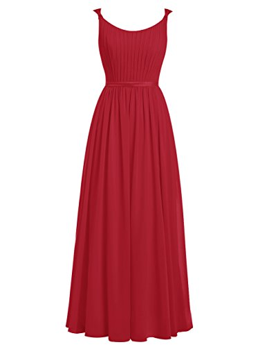 Dresstells®Vestido De Fiesta Largo Con Tirantes Finos Vestido de Madrina Rojo Oscuro