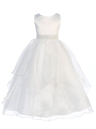 (Chic Baby Girls Asymmetric Ruffles Satin/Organza Flower Girl Dress -White-6-(CB302))