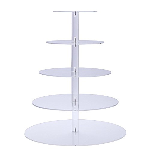 Sumerflos 5-Tier Round Clear Cupcake Stand - Acrylic Cake Tree Tower - Wedding, Party and Baby Shower Cupcake Display Stand (5-Tier-Round)