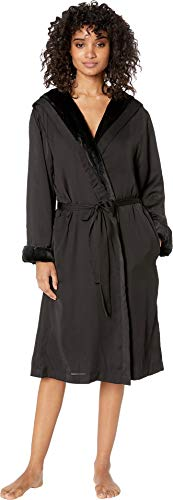 (Donna Karan Women's Robe w/Faux Fur Lining Black)