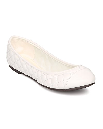 (Breckelle's Women Leatherette Capped Toe Quilted Ballet Flat FI14 - Off White (Size: 8.5))