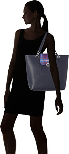 Tommy Hilfiger Effortless Novelty Tote Print, Bolso Totes para Mujer, 13x33x38 cm (W x H x L) Varios Colores (Tommy Navy/ Tartan)
