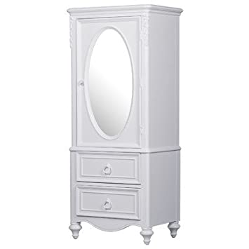 Armoire Wardrobe Cabinet Mirror Closet Dresser Storage Bedroom Furniture  Jewelry NEW