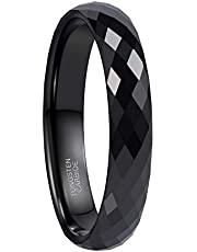 Greenpod 4MM Tungsten Carbide Rings Faceted Edge Dome Polished Rose Gold/Black Wedding Band Comfort Fit for Women Size 6-12