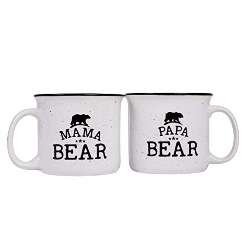 Papa Bear & Mama Bear Campfire Ceramic Mugs, Gift for Couples - White - 15 oz, Retro Coffee Mug for Dad & Mom Gifts Tea Cup, Perfect Christmas Gift ()