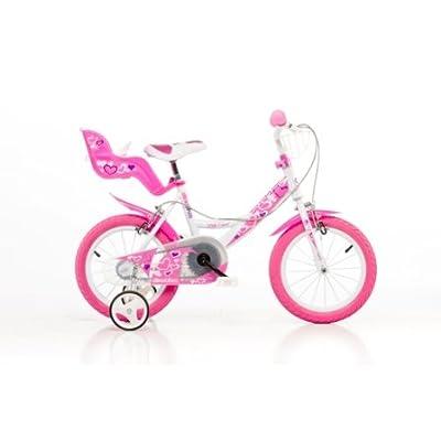 DINO CITY 144RN 14 pouce KIDSBIKE fille- vélo, bicyclette, enfant-velo, bécane, vélocipède, rouler en vélo, faire du vélo..blanc-pink..stabilisateurs..gardeboue.. pannier-avant..porte