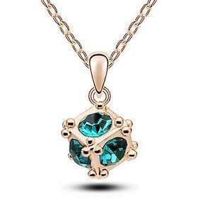 - New Womens Cube Peacock Green Crystal Rhinestone Gold Chain Pendant Necklace -