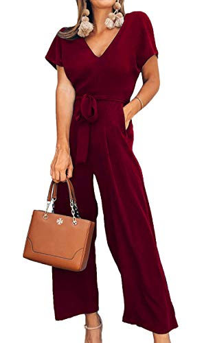 ECOWISH Women V Neck Short Sleeves Tie Waist Jumpsuits Long Wide Pants Casual Jumpsuit with Pockets WineRed Medium