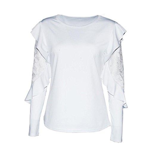 Scollo Maglietta Manica Cucitura Lunga Foglio Lungo Loto Manica Bianco Rotonda a Solido Donna del Autunno LQQSTORE del Tops Blusa Elegante Manica Sexy Pizzo Pullover 6qxEwpnOP