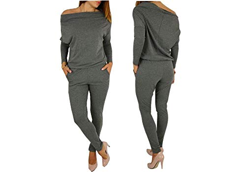 Boni caro Women Long Sleeve Jumpsuit Essentials Off Shoulder Casual Playsuit Bodycon Rompers Trousers Pants with Pockets…
