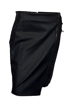 eVogues Plus Size Faux Leather Irregular Zip Skirt Black