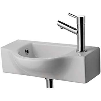 ALFI Brand AB105 Small Wall Mounted Ceramic Bathroom Sink Basin, White