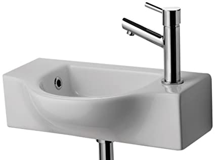 ALFI Brand AB105 Small Wall Mounted Ceramic Bathroom Sink Basin, White