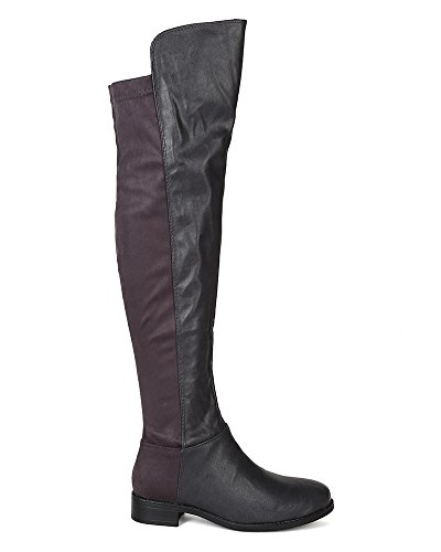 Grey Stack High BH09 Knee Boot Women Riding Heel Media Mix Breckelles wxg7vn1Pqx