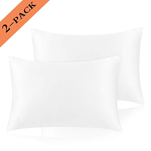 Ravmix Queen Size Pillow Cases - Luxury Silky Soft Satin Pillowcases for Hair and Skin - Fits Queen Size Pillows - Cool & Wrinkle Free - Hypoallergenic - Set of 2-20x30 inches, White - Hair Satin Pillowcase
