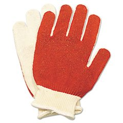 North Safety Smitty Nitrile Palm Coated Gloves, White/Red, Medium, 12 Pairs
