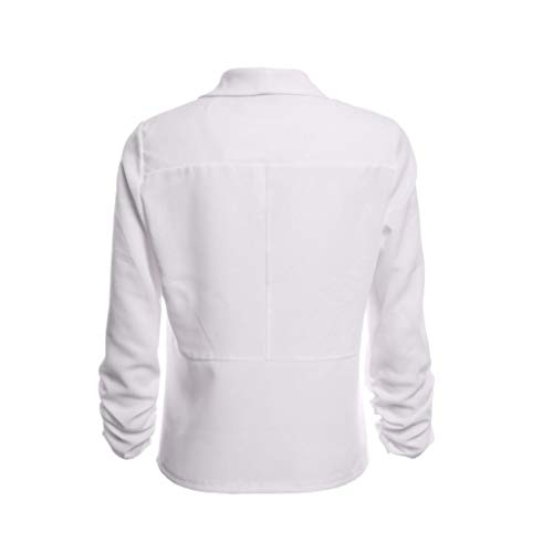 Rond Uni Col Nu Longues Blanc Chemisier Xmiral Femme Dos Manches CwqF1XxUH