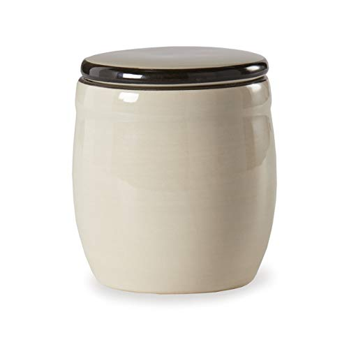 Sugar Glossy Off White 4 x 4 Ceramic Stoneware Food Storage Jar With Lid