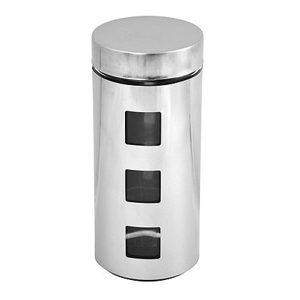 Silver Stainless Steel Canister with Clear Glass Windows - Air-tight Container & Food Jar with Large Storage Capacity