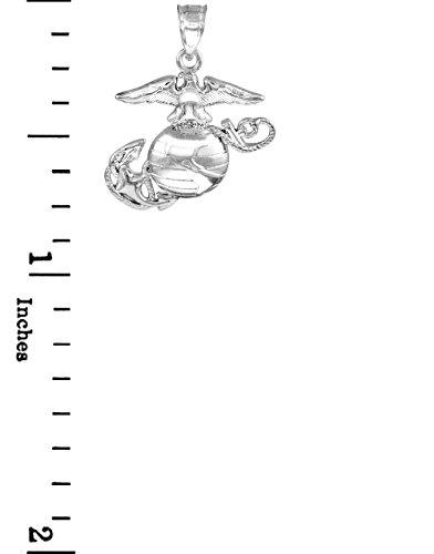 "10 ct 471/1000 Or Blanc ""US Marine Corps"" Petitr Pendentif"