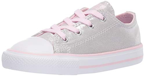 Converse Girls Infants' Chuck Taylor All Star Shimmer Low Top Sneaker, Mouse/Pink Foam/White, 6 M US Toddler