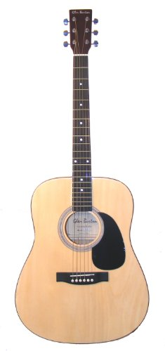 Full Size Dreadnought Acoustic Guitar with Free Carrying Bag and Accessories - Natural (Guitar, Case, Strap & DirectlyCheap(TM) Translucent Blue Medium Guitar (Glen Burton Natural)