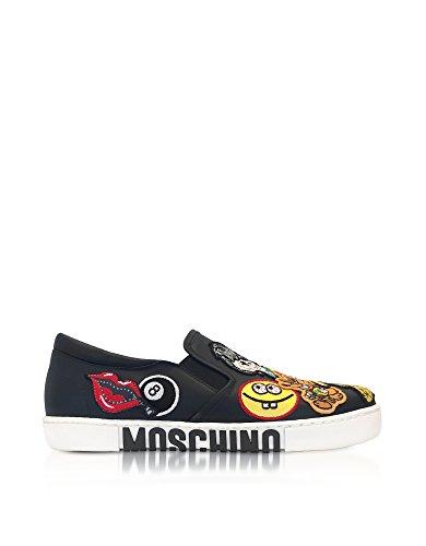 MA15012G15MB00 MOSCHINO Chaussures Cuir Noir De Skate Femme PpqFw4