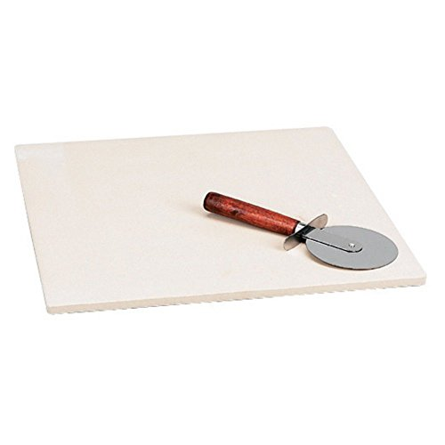Italian Origins 14-by-15-Inch Rectangular Bread Baking Stone with Jumbo Pizza Cutter