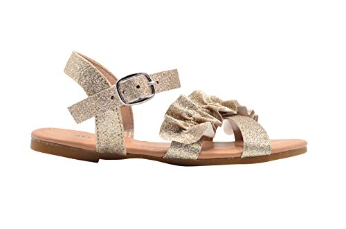 dELiAs Girls Fashion Sandals 2 M US Little Kid Glitter Summer Party Flats with Ruffle Strap -