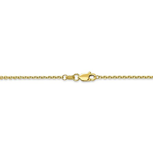 Gold Anklet Diamond Cut Cable - 1.3 mm 10k Yellow Gold Diamond-Cut Solid Cable Chain Ankle Bracelet - 9 Inch