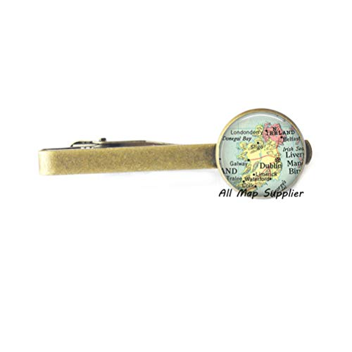 AllMapsupplier Charming Tie Clip Ireland map Tie Clip Tie Pin Charm,Ireland Tie Clip Resin Tie Clip Tie Pin,Ireland map Jewelry Ireland Tie Clip Tie Pin,A0018 (2) ()