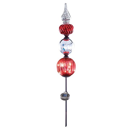 Christmas Topiary - Christmas Topiary Faux Mercury Glass Solar Light Stake, Red