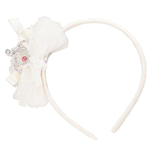 [FRILLS Pouf Baby Girl Tiara Hairband - Wedding Flower Girls Headband Toddlers - Ivory] (Mini Me Baby Costume Uk)
