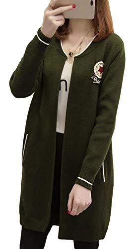 ZhongJue(ジュージェン) レディース ニット カーディガン ゆったり ロング丈 コーディガン 無地 ファッション 韓国風おしゃれ ロングコート 秋物