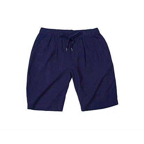 Harson&Jane Hombres de Algodón de Lino Lazo casual shorts clásicos de Verano Chino Azul marino