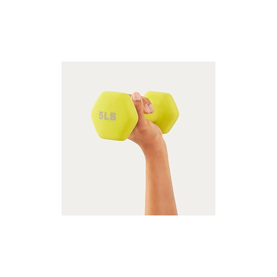 AmazonBasics 20 Pound Dumbbell Set with Stand, Silver Lettering