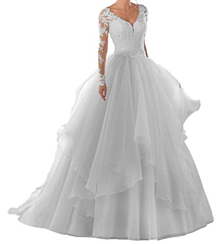 Wedding Dresses Long Sleeve Lace Bridal Gowns A Line Organza Bride Dress V Neck Wedding Gown Ivory US16W