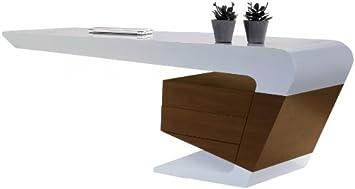 Tendancemeubles bureau design blanc noyer 180x90 cm ue : amazon.fr