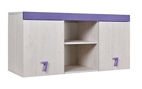 Kinderzimmer - Hängeschrank Luis 15, Farbe: Eiche Weiß/Lila - 58 x 120 x 42 cm (H x B x T)