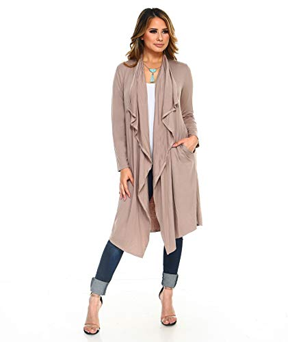 (Isaac Liev Women's Open Front Drape Draped Front Lightweight Long Cardigan with Side Pockets (2X-Large, Mocha) )