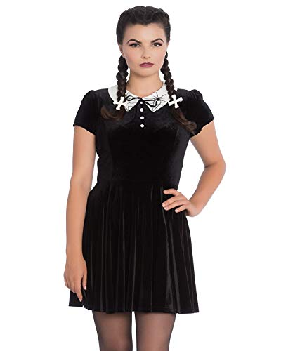 Little Miss Muffet Dress (Hell Bunny Miss Muffet Spider Web Velvet Wednesday Addams Goth Pointed Doll Collar Dress (X-Small,)