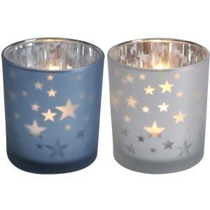 Vincent réfléchissant étoiles Photophore, blanc, 8 x 7.2 cm Transomnia