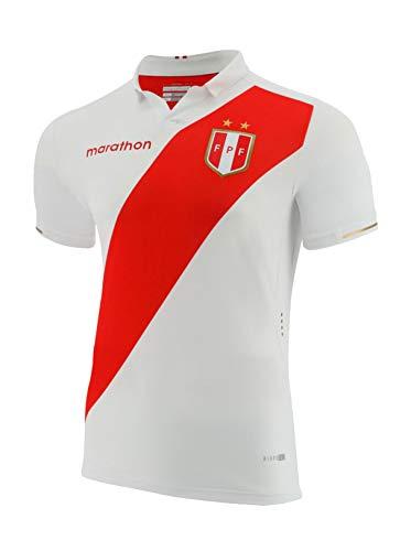 Peru Men Soccer Jersey Replica for Men, White. Copa America 2019, Marathon Design. Camiseta Seleccion Peruana de Futbol (Medium)