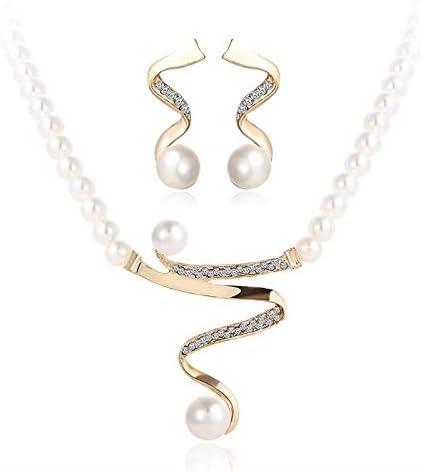 MSYOU Set of 3 Elegant Women Earrings Necklace Bracelet Creative Shape with Imitation Pearls Pendant Bracelet Jewelry Sets