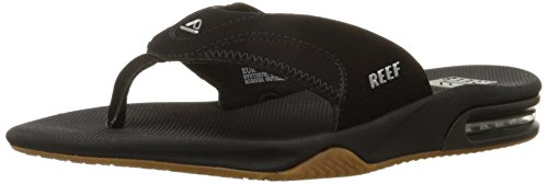 (Reef Men's Fanning Flip Flop, BLACK/SILVER, 10 D - Medium)