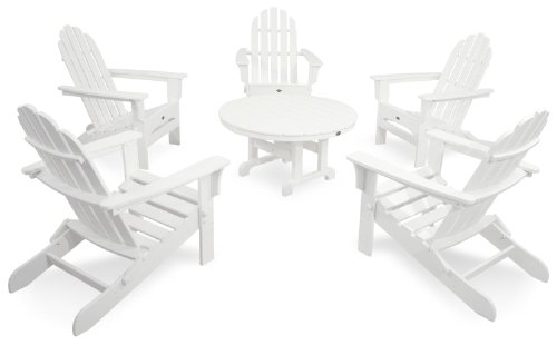 Trex Outdoor Furniture TXS115-1-CW Cape Cod 6-Piece Folding Adirondack Conversation Set, Classic White