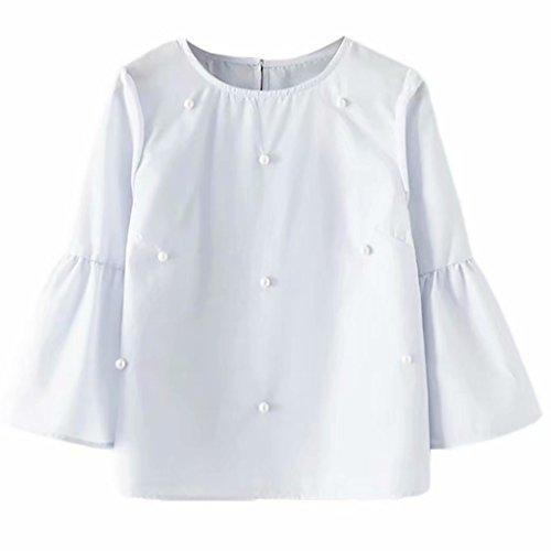 Tops Daoroka Three Quarter Flare Sleeve O-Neck Beading Solid Casual Loose Autumn Blouse Fashion Tunic Shirt Big Promotion (Casual Loose Beadings)