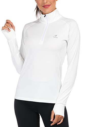 Women's Yoga Jacket 1/2 Zip Pullover Thermal Fleece Athletic Long Sleeve Running Top with Thumb Holes (White, Small)